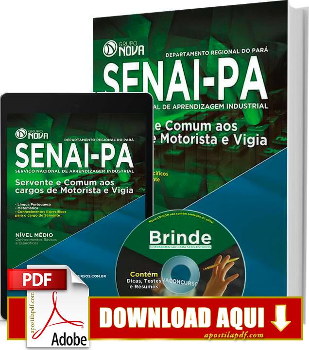 Apostila SENAI PA 2015 Servente, Motorista e Vigia Impressa PDF Grátis Download