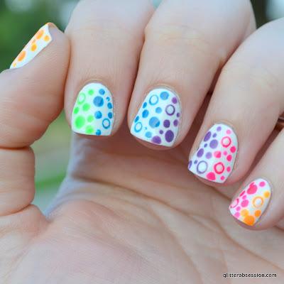 31dc2013, nail art, dots, nail art dots, rainbow dots, dot nail art,