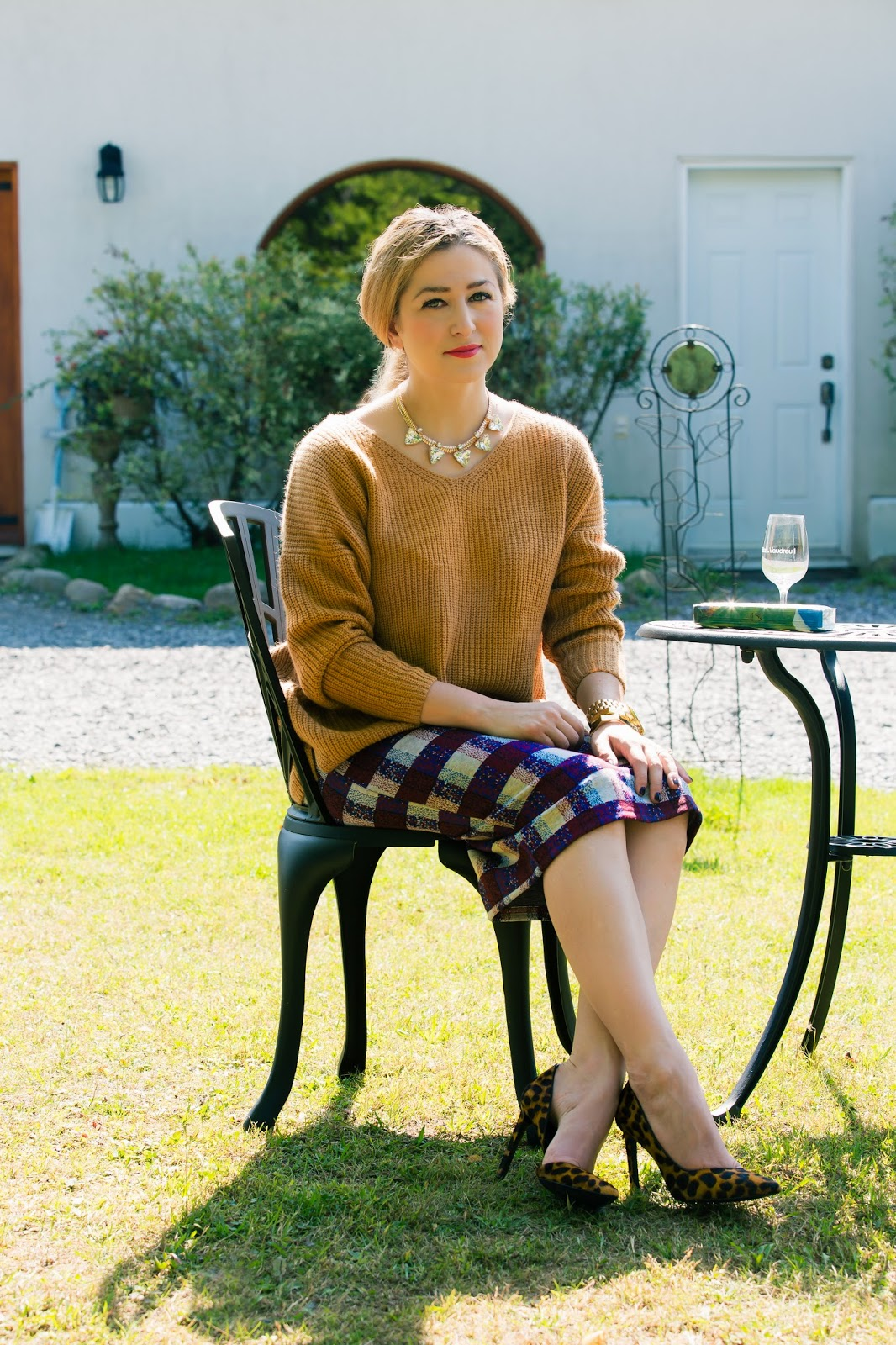Clean Rib Sweater, texture Check Tube Skirt, leopard shoes, topshop, nine west