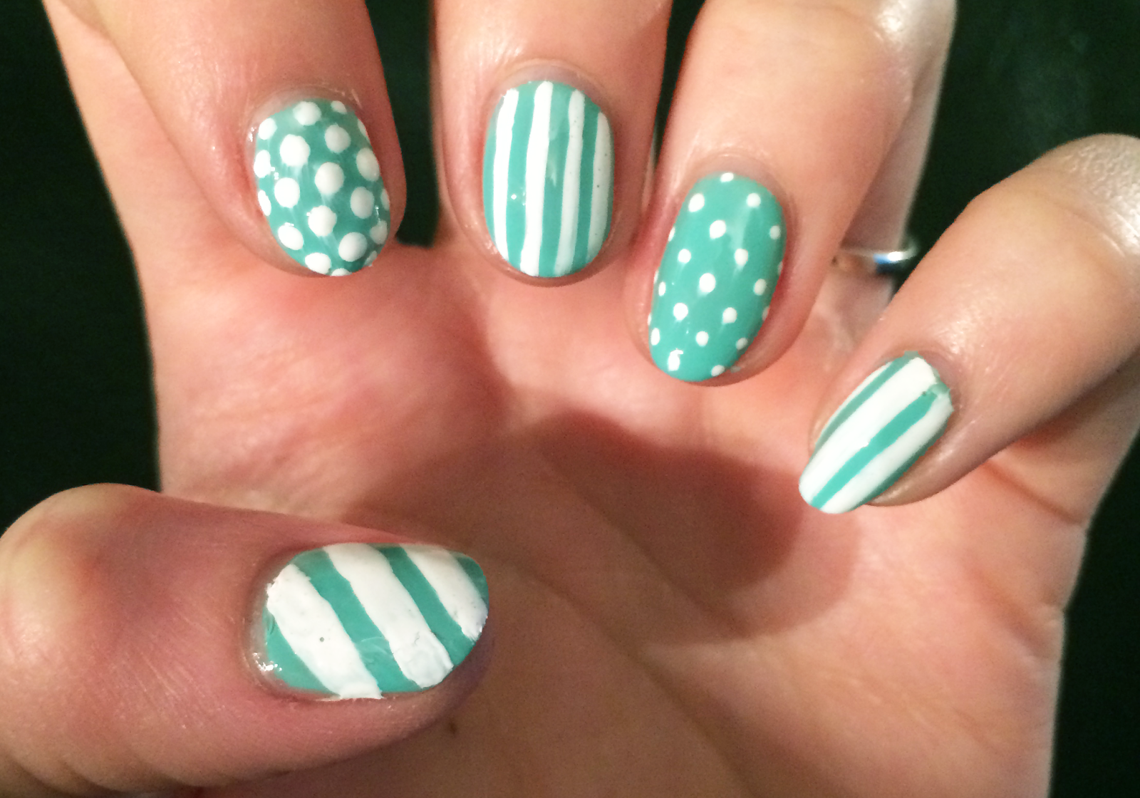 Green and White Spots and Stripes Nail Art | Claire Victoria