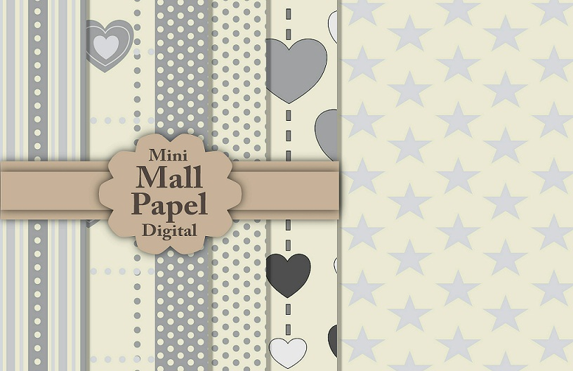 Mini Mall Papel Digital Scrapbooking - Papel para imprimir, recortar e ...