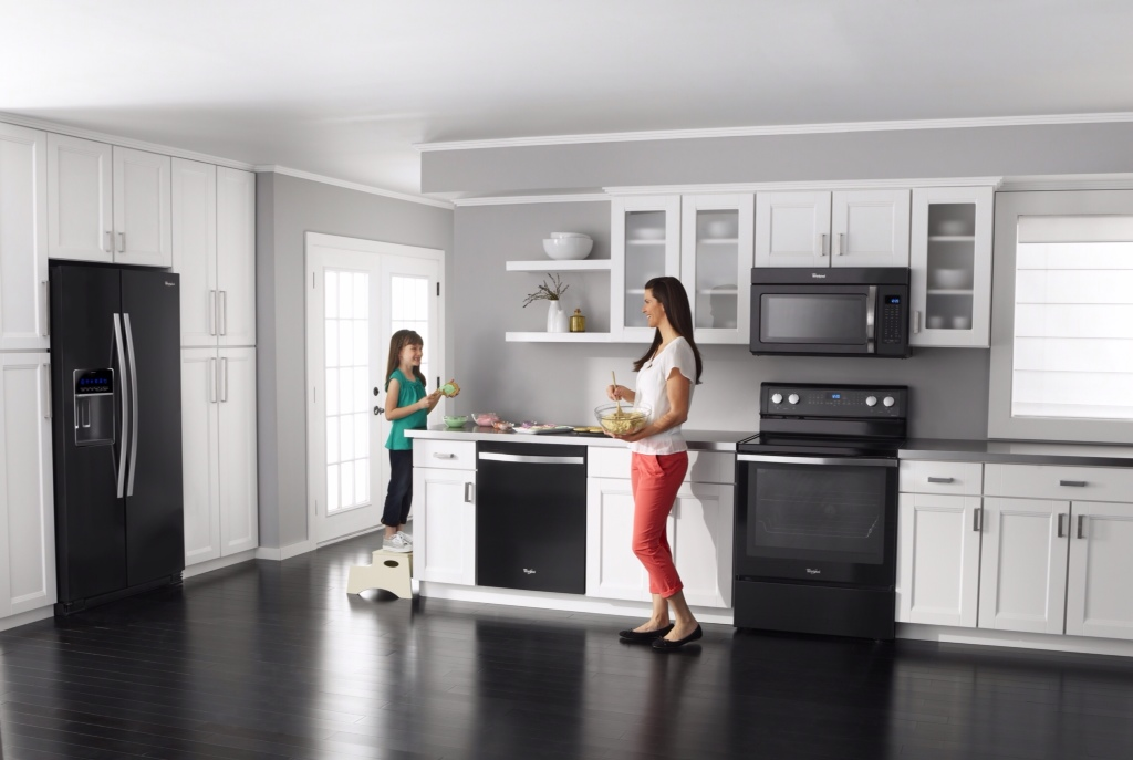 Living livelier trending appliances white ice - White kitchen with black appliances ...