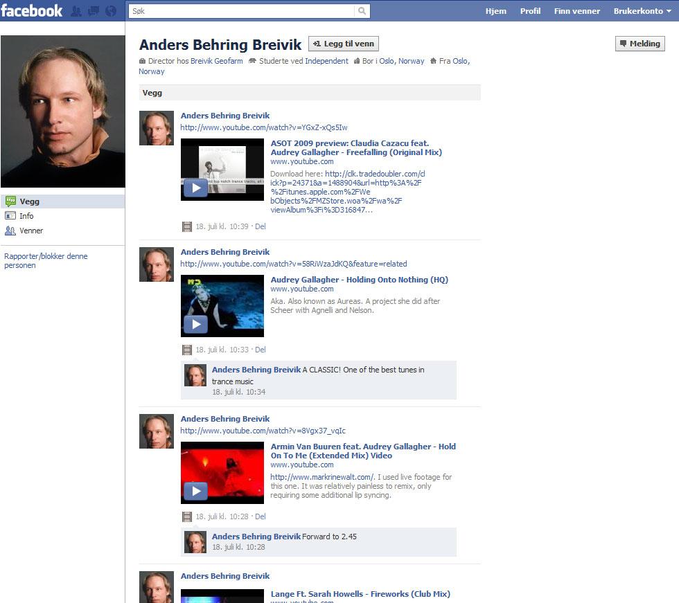 Anders Behring Breivik's Facebook profile: July 2011