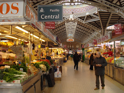 The real secret to making an excellent paella valenciana is visiting or living in  Valencia where you have access to all the fresh regional ingredients,  at places like this, Valencia's fantastic Mercat Central.