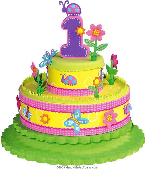 Torta de goma eva para cumpleaños infantil ~ Portal de Manualidades