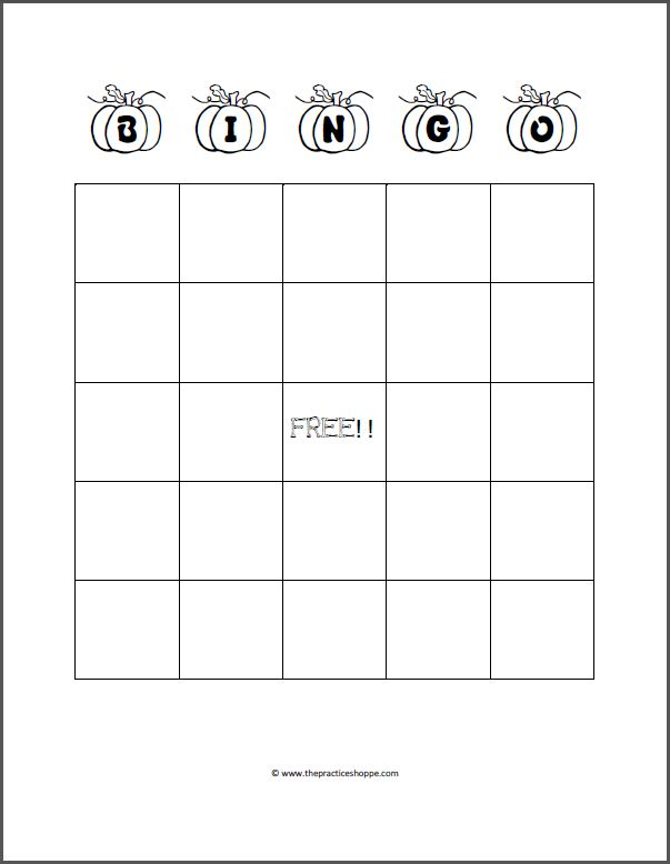 Practice Makes It Easy: Halloween Bingo