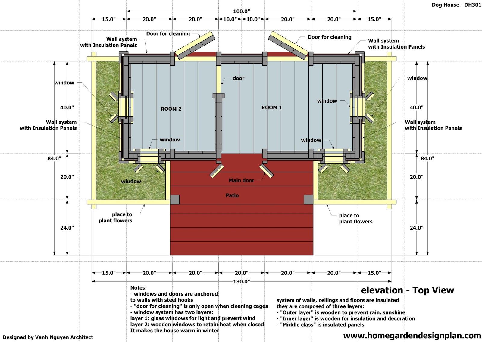 Home garden plans dh301 insulated dog house plans for Building a house layout