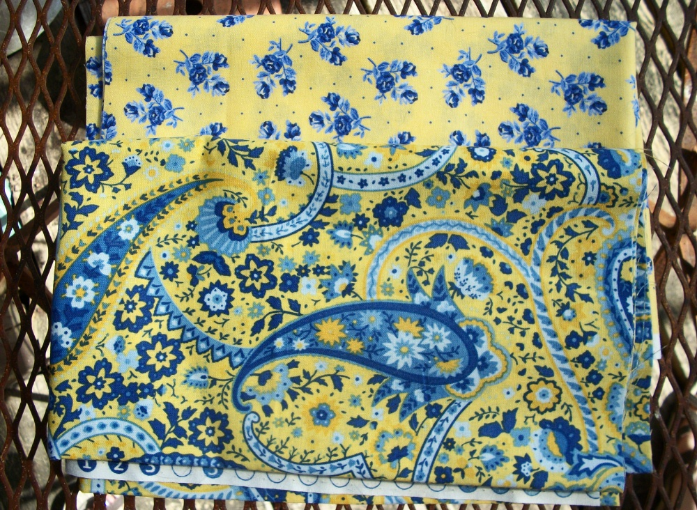 Blue Fabric with Yellow