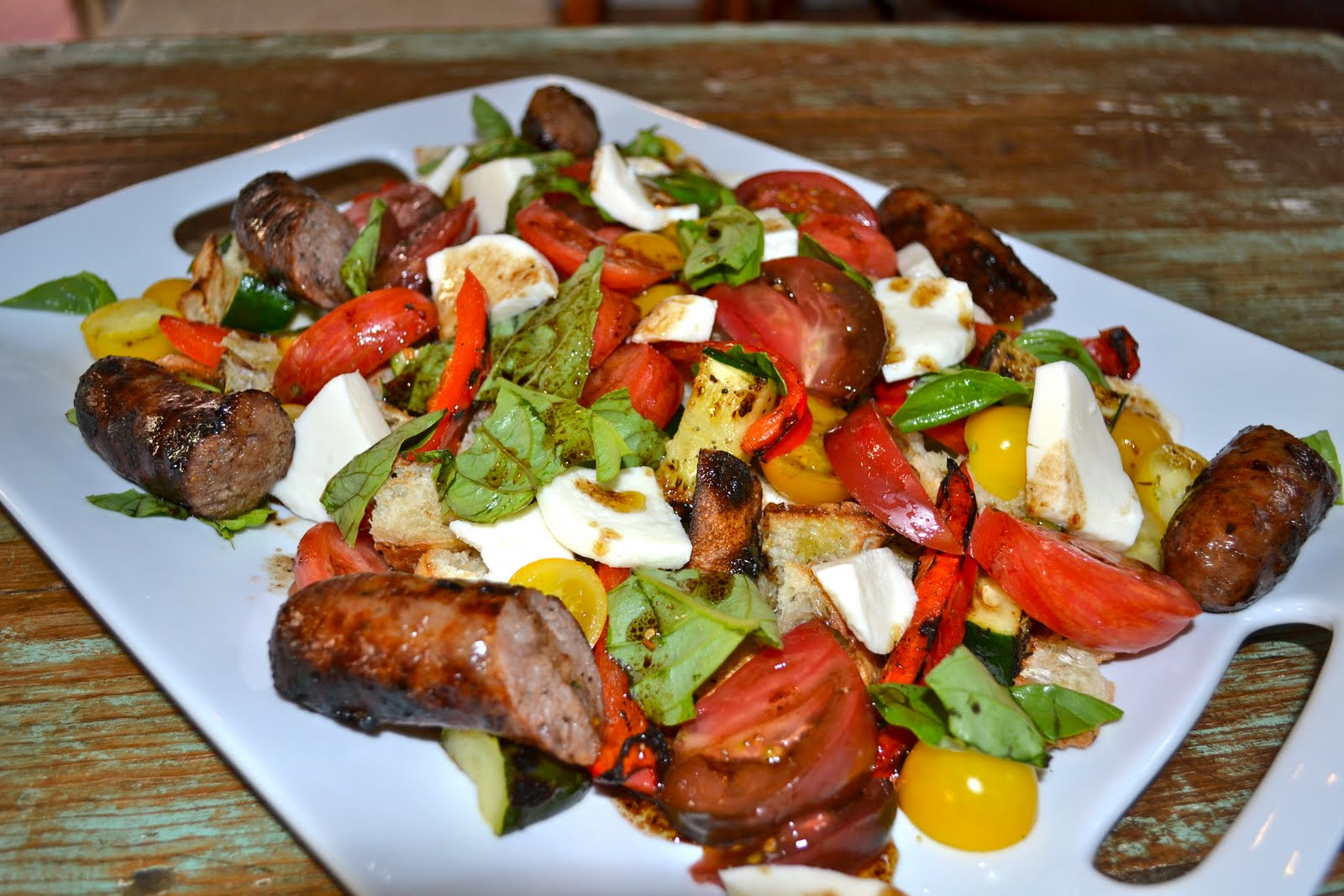 Summertime Grilled Panzanella Salad with Italian Sausage