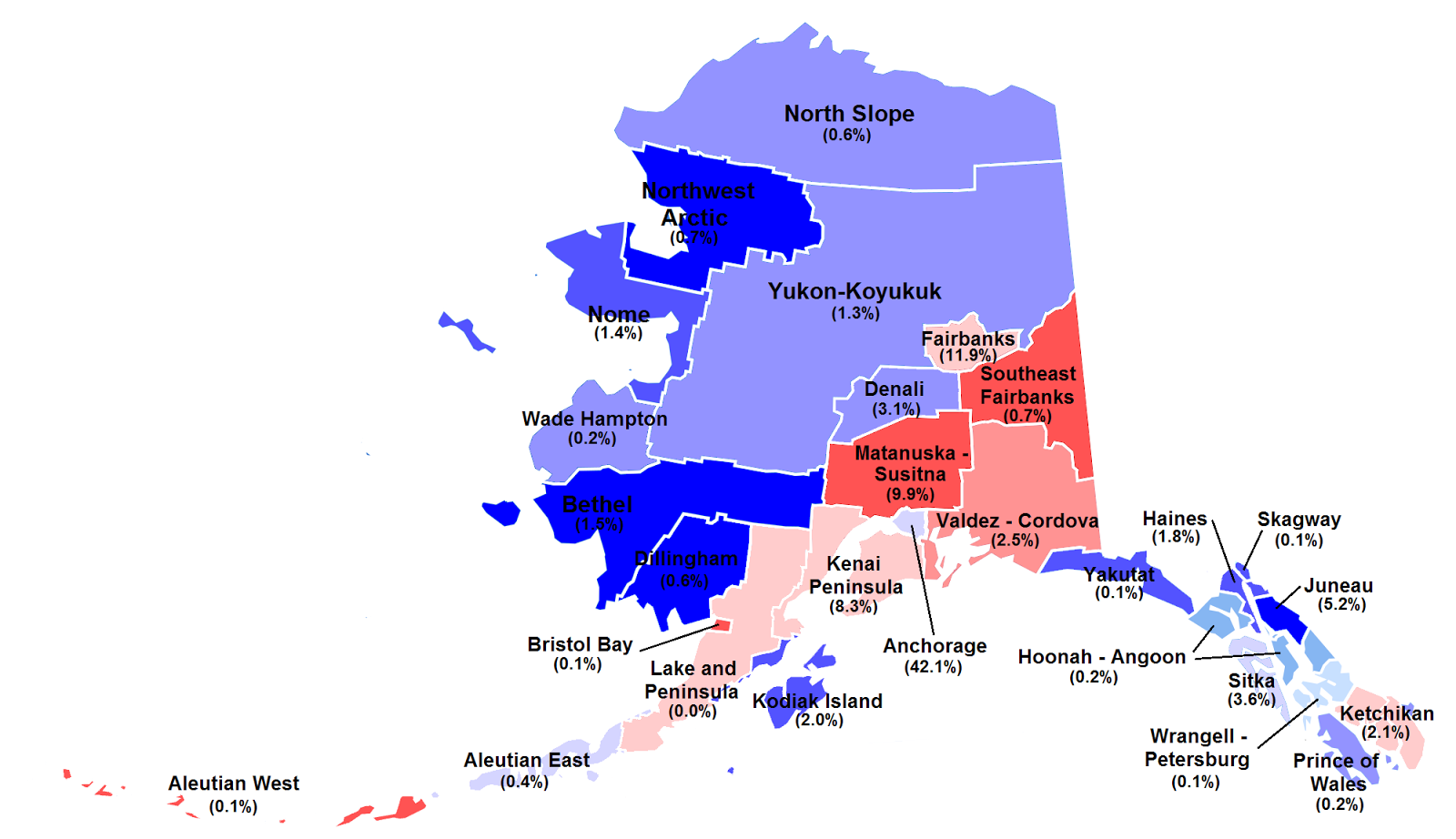 2008 alaska senate election by borough and percent of electorate