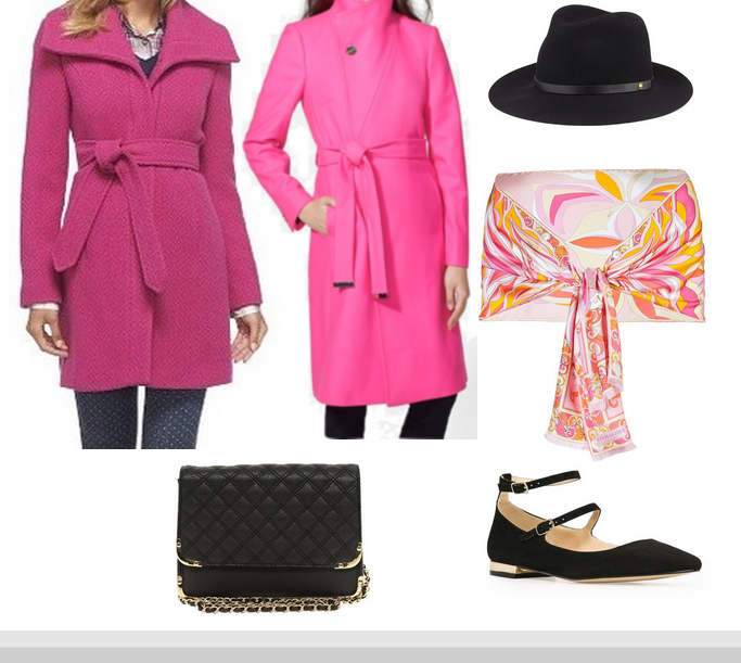 Pink wrap coat, Hot Pink Wrap coat, Pink wrap belted coat, Wrap collar coat