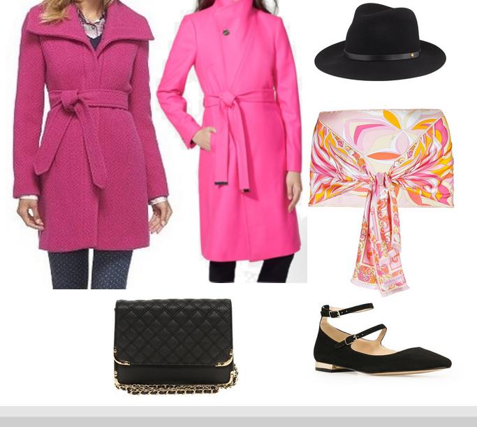 Pink wrap coat, Hot Pink Wrap coat, Pink wrap belted coat, Wrap collar coat