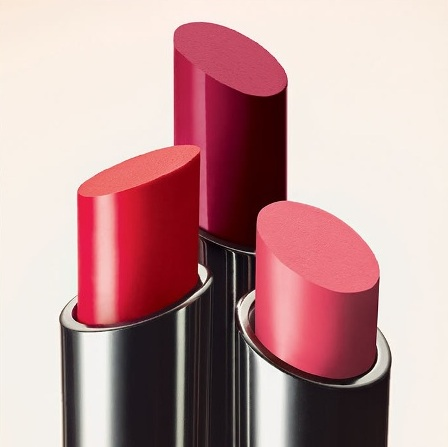 MAC Huggable Lipcolour lipsticks:Cherry Glaze, Commotion, and What a feeling!