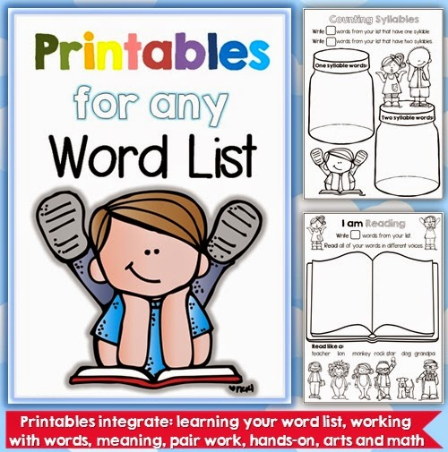 Printables for any Word List   Ready to go printables that will work for any list and that can be used in a number of ways.