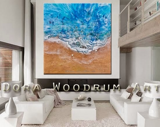 "Original Abstract Painting ""Beach Stroll"" by Artist Dora Woodrum"