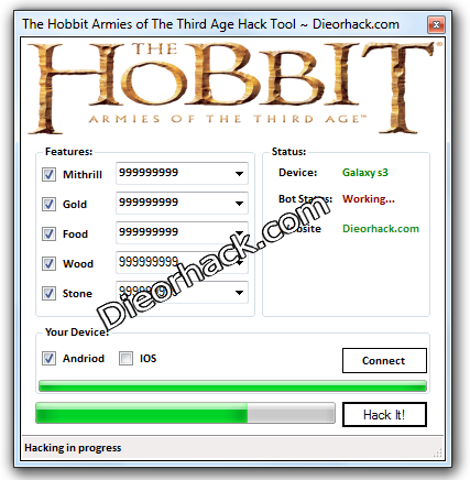 Hack] The Hobbit Armies of The Third Age Unlimited Gold And Mithrill
