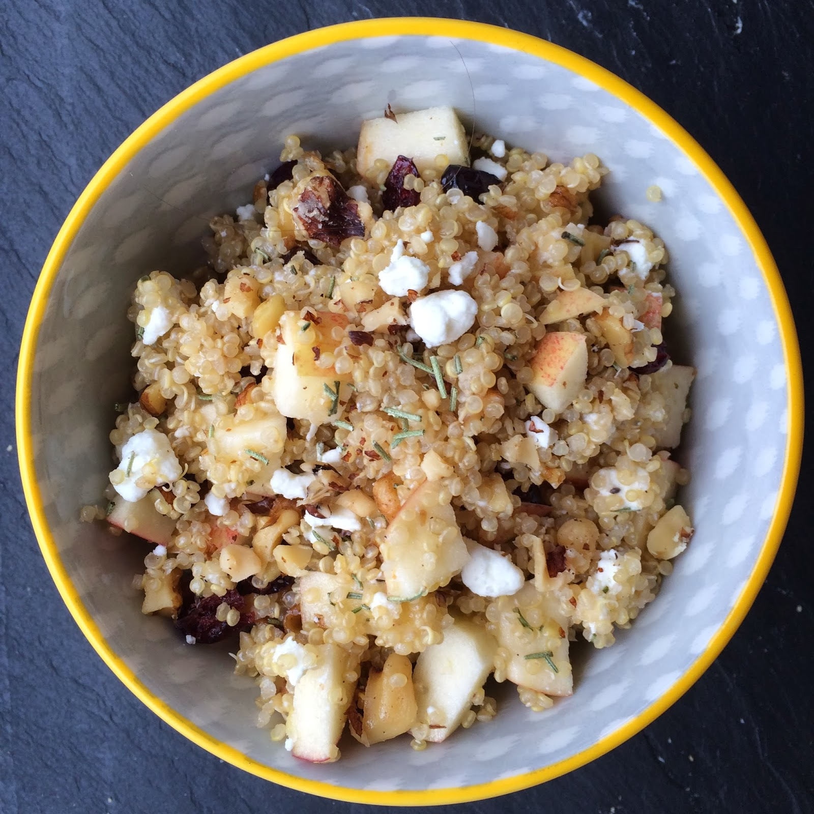 Quinoa with Apples, Goat Cheese and Cranberries