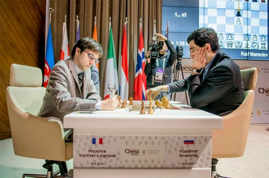 Magnus Carlsen impitoyable face à  Vladimir Kramnik au Mémorial Vugar Gashimov - Photo © Shamkir Chess Tournament 2015