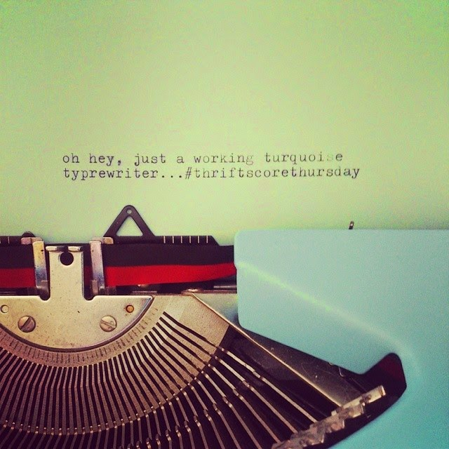 #thriftscorethursday Week 21 | Instagram user: danslelakehouse shows off this turquoise typewriter with a sweet note.