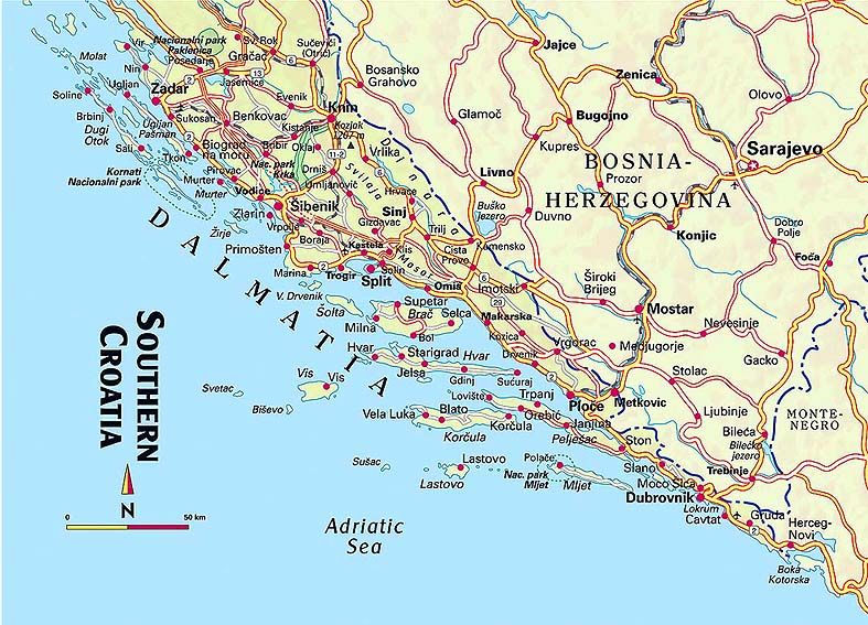 Map of Croatia Dalmatian Coast Dalmatian Coast Map