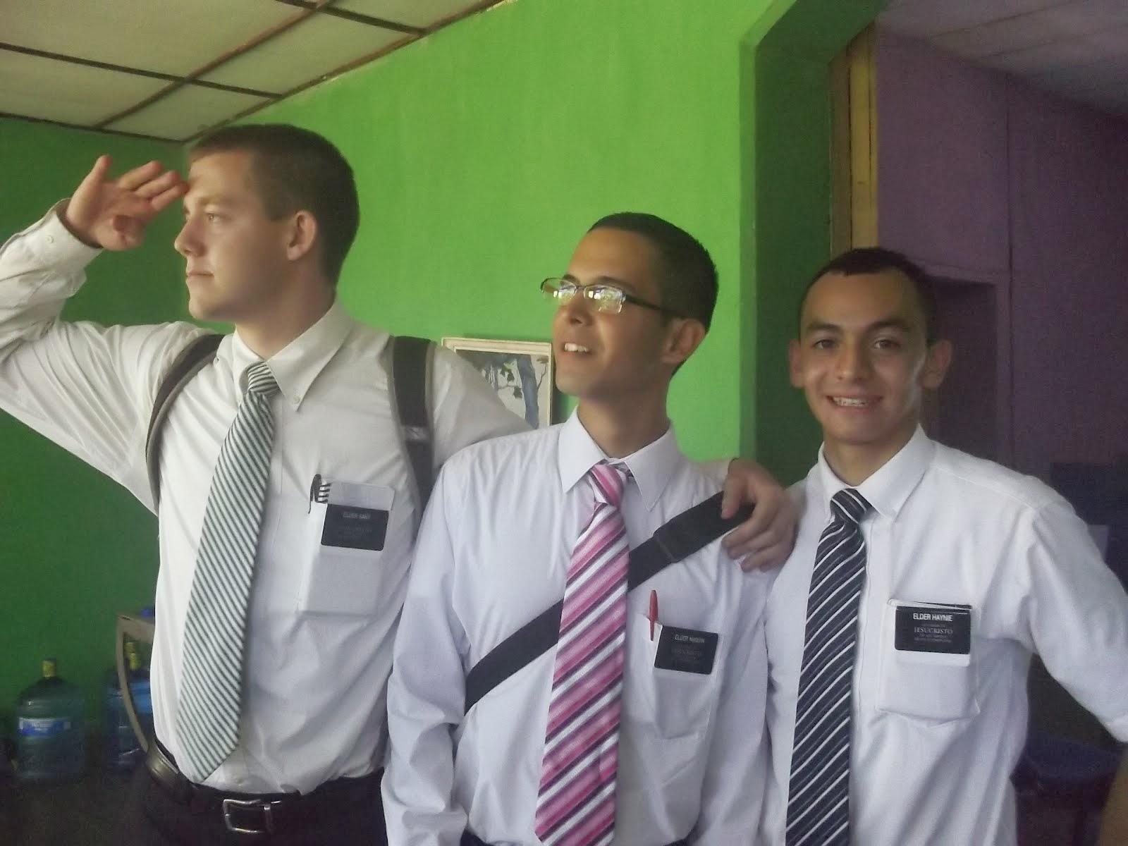 Elder Sant ( Idaho ) Elder Maquin ( Guatemala) ,Elder Haynie ( Utah)