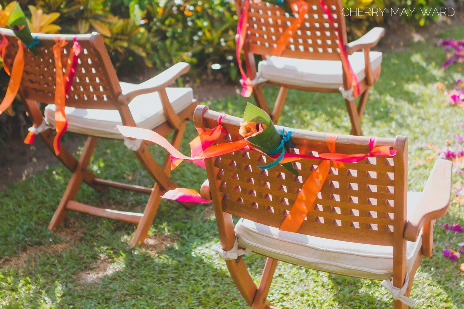 Koh Samui Villa wedding decorations, Thailand villa wedding decorations, colourful villa wedding decorations, DIY decorations, ribbons on chairs, flower petals in banana leaf cones