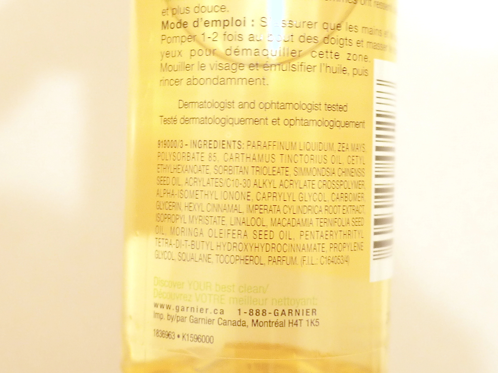 Garnier Clean+ Nourishing Cleansing Oil ingredients review