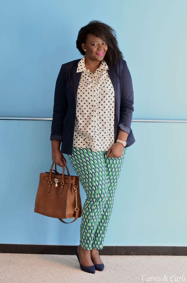 5 ways to wear a polka dot blouse #closetremix #plussize #curves #remixing patterns