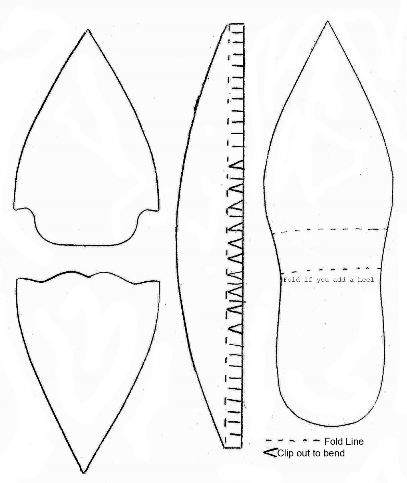 Plantilla para hacer zapatos de papel sin tacón.