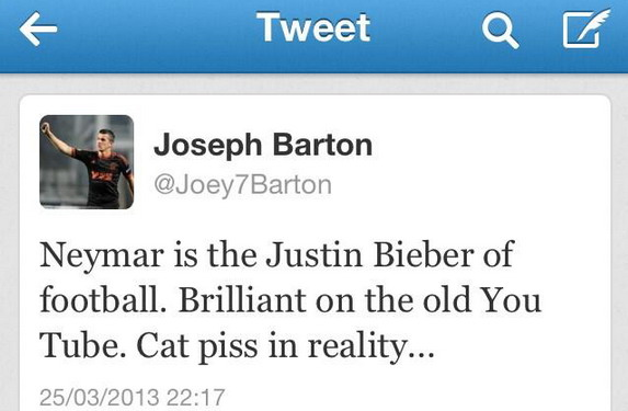 A snapshot of Joey Barton's Twitter timeline showing him taunting Brazilian star Neymar