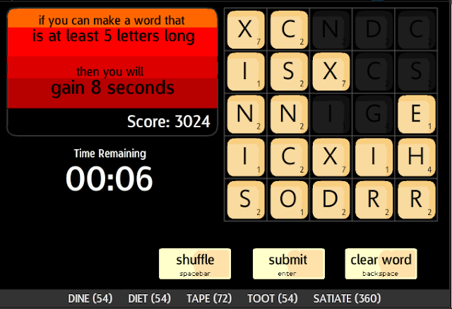 Spelling Scramble Gameplay words