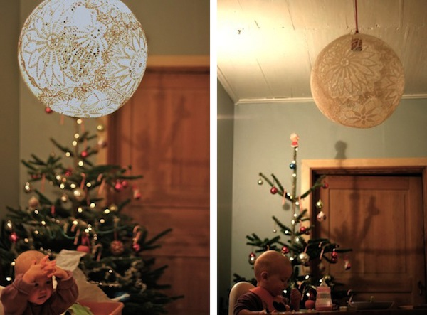 Whispered whimsy vintage doily diy they 39 re for Doily light fixture