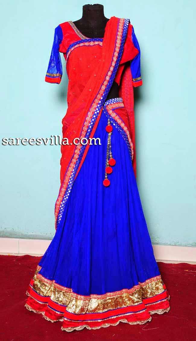 Blue and red designer half saree