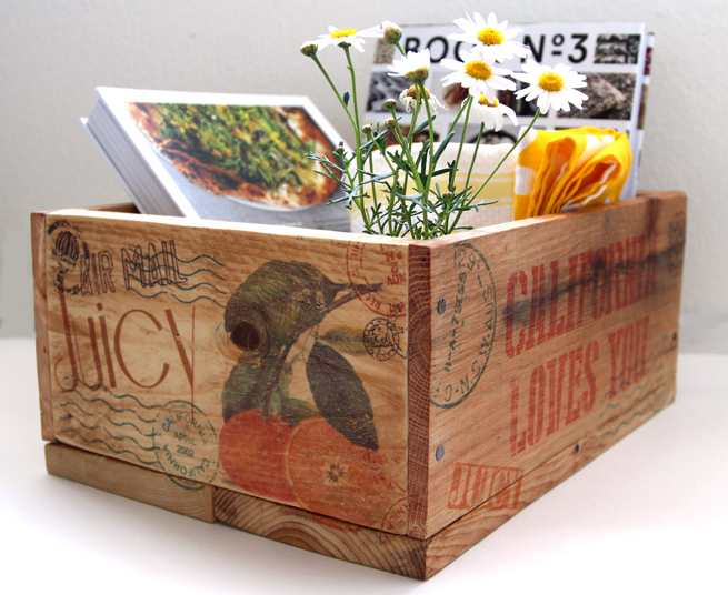 Image transfer on wood crate