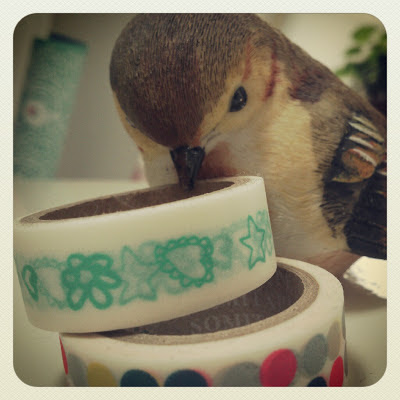 ByHaafner, bird, thrifted, vintage, washing tape, masking tape,