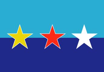「沖縄の独立」をめざす「かりゆし」旗 <br>(三星天洋旗, 「琉球共和国」の旗)