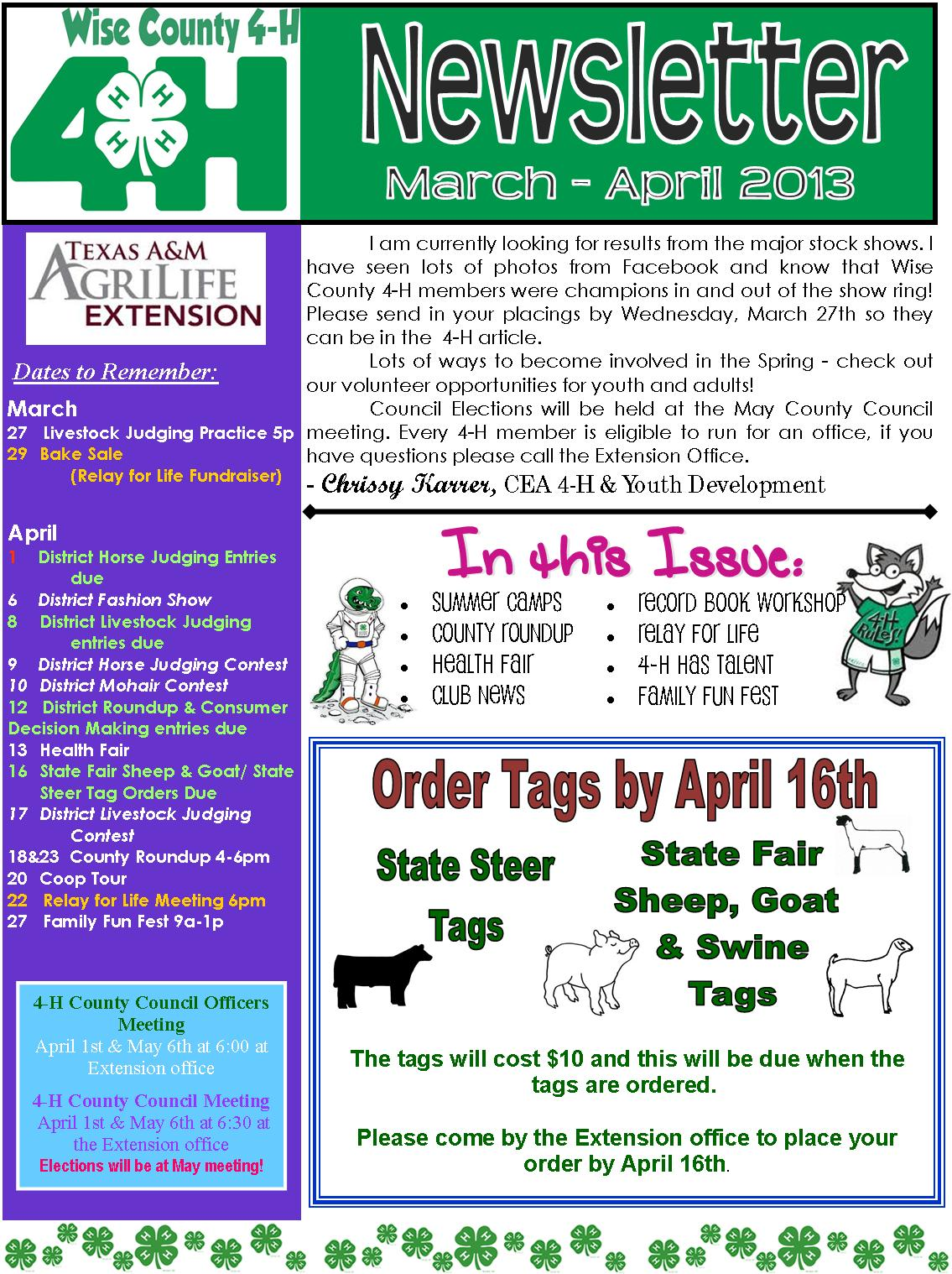 texas a m agrilife extension wise county march april 4 h newsletter. Black Bedroom Furniture Sets. Home Design Ideas