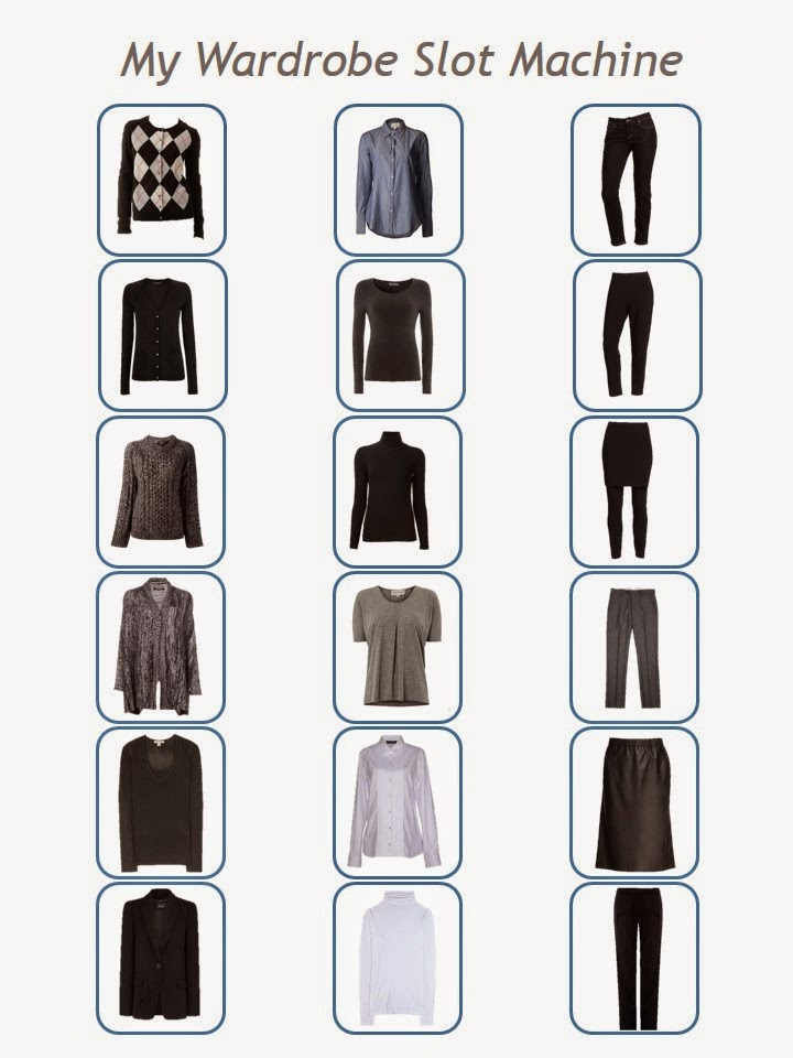 18 garments make 216 outfits! 18 perfectly interchangeable pieces of clothing in black, white, grey and denim