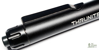 Thrunite Ti4 2xAAA Flashlight / Penlight - Tail Switch Closeup 1