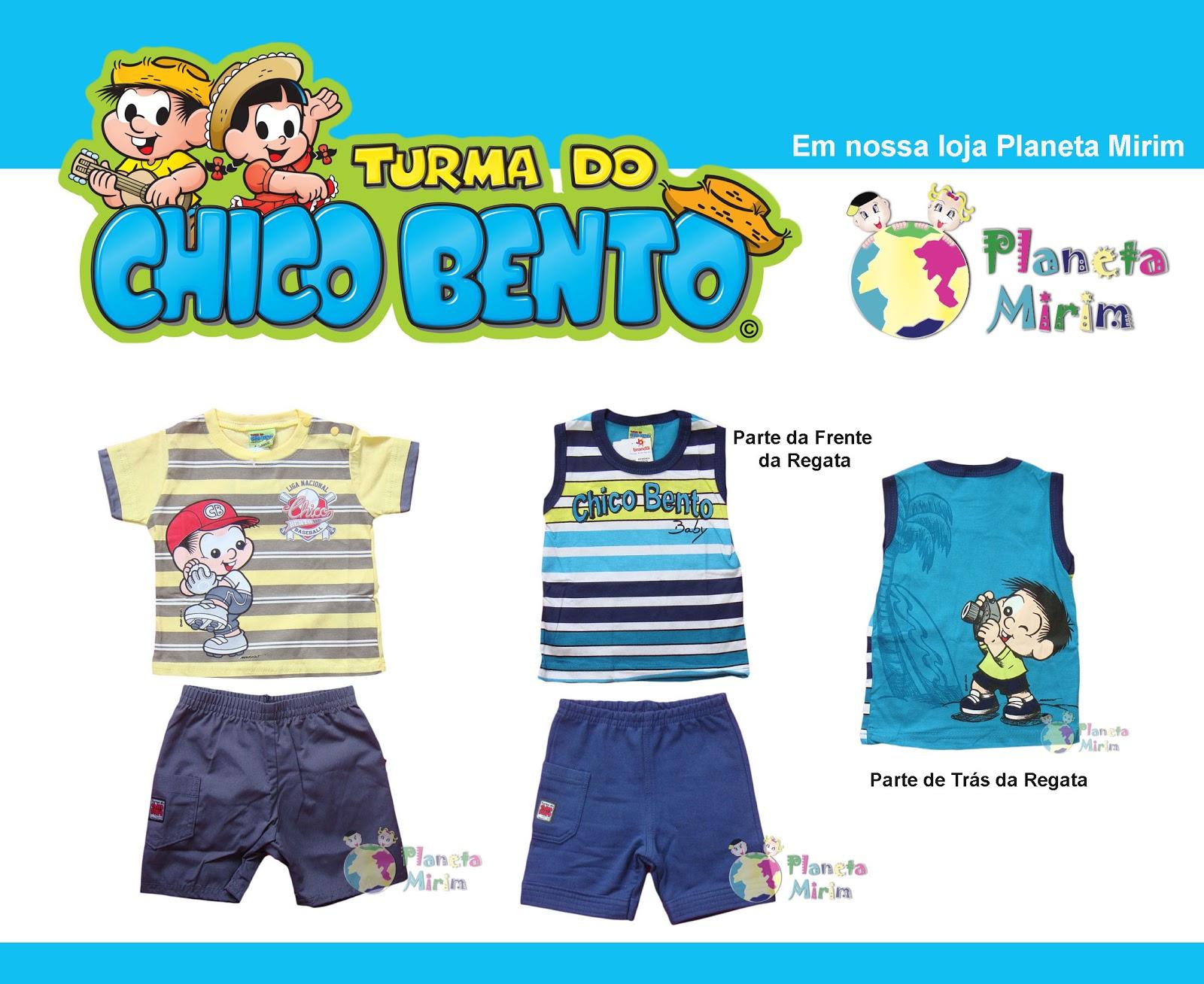 roupas de bebê de personagens da turma do chico bento de verão