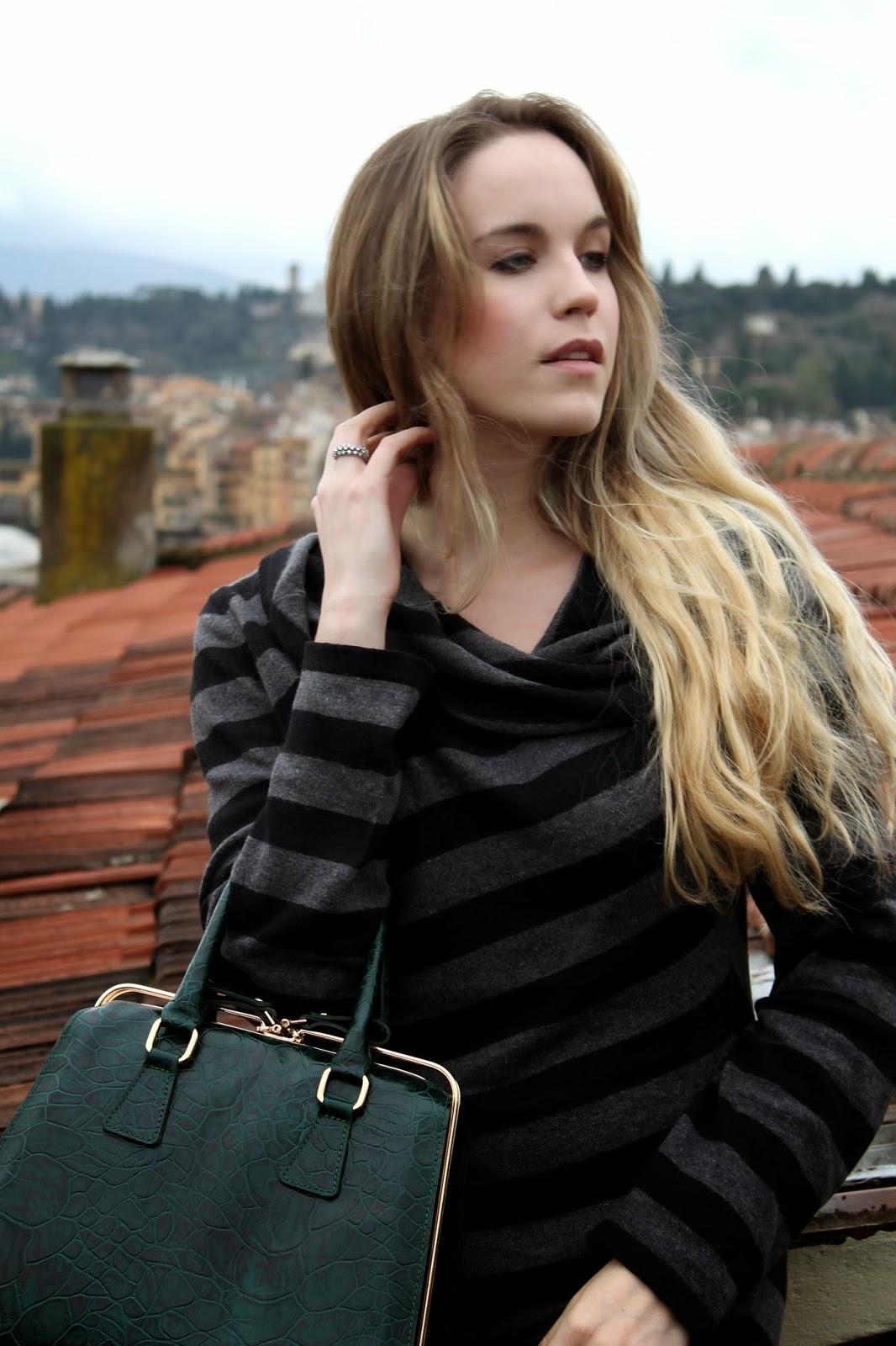 damiani ring, striped sweater