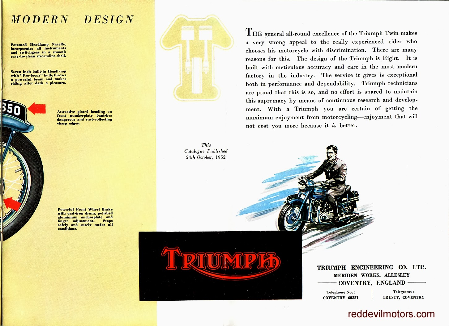 Vincent motorcycle brochure 1952 front cover - Triumph Brochure 1952 Page 2