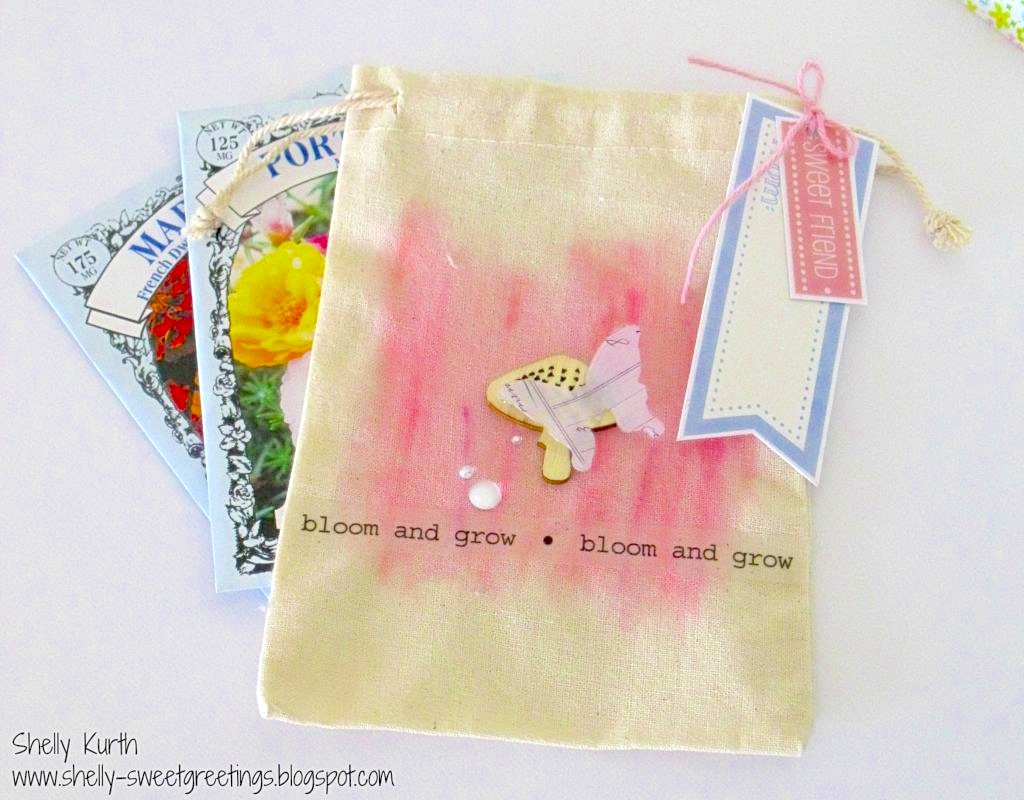 SRM Stickers Blog - Spring Seed Bag by Shelly - #spring #gift  #muslin #bag #cotton #twine  #labels #stickers