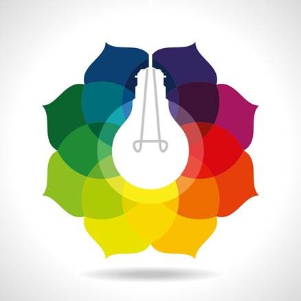 A shining light bulb graphic illuminating the center of a rainbow flower.