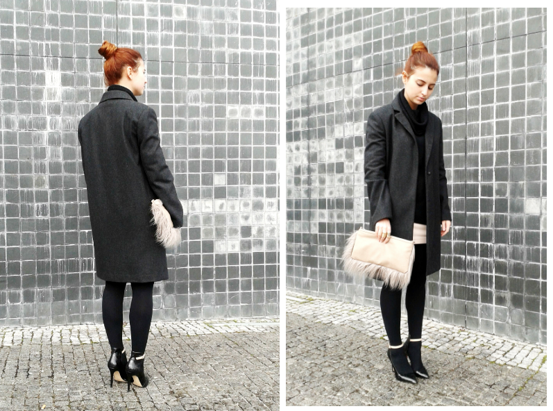 masculine Mango coat, heels from Zara, fur Blanco clutch
