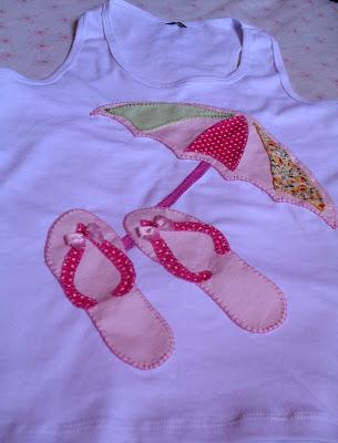 camisetas em Patcholagem com desenho Praia Verão