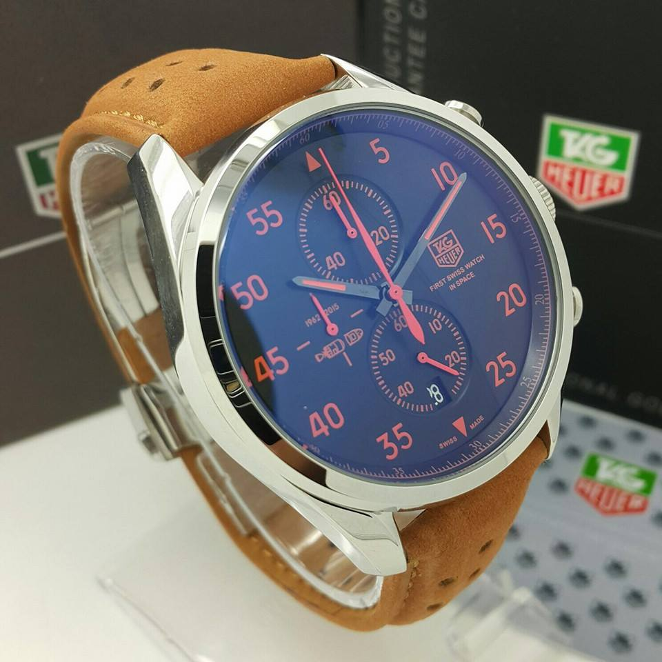 Sixty9 Replica Watches Tag Heuer First Swiss In Space Leather Stainless Steel Case Strap Mineral Glass Anti Scratch Battery Function All Sub Dial Date Display