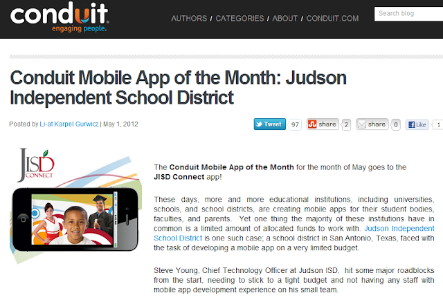 Blog on Conduit Mobile awarding Judson ISD Connect! as May 2012 app of the month
