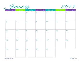 free printable, 2013 calendar, monthly planner