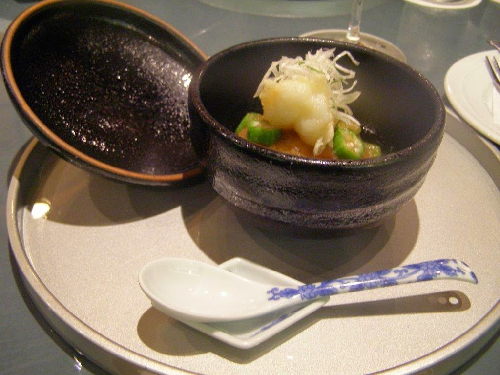 Deep fried aubergine, scallop, shrimp, fish, ginko nuts and okra  served with thickened bonito broth